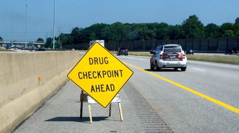 Drug Checkpoint Ahead Sign